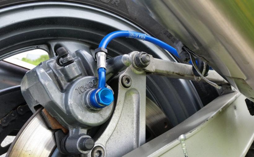 ZZ-R 600 mit Stahlflex-Bremsleitung hinten