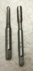 M5 Gewindeschneider abgeschliffen - links original, rechts bearbeitet